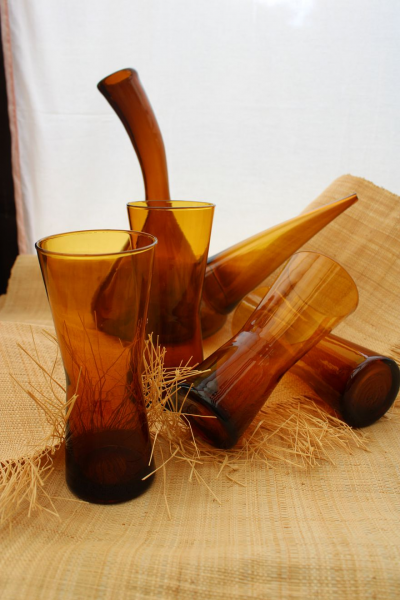 Lot Carafe et verres ambre
